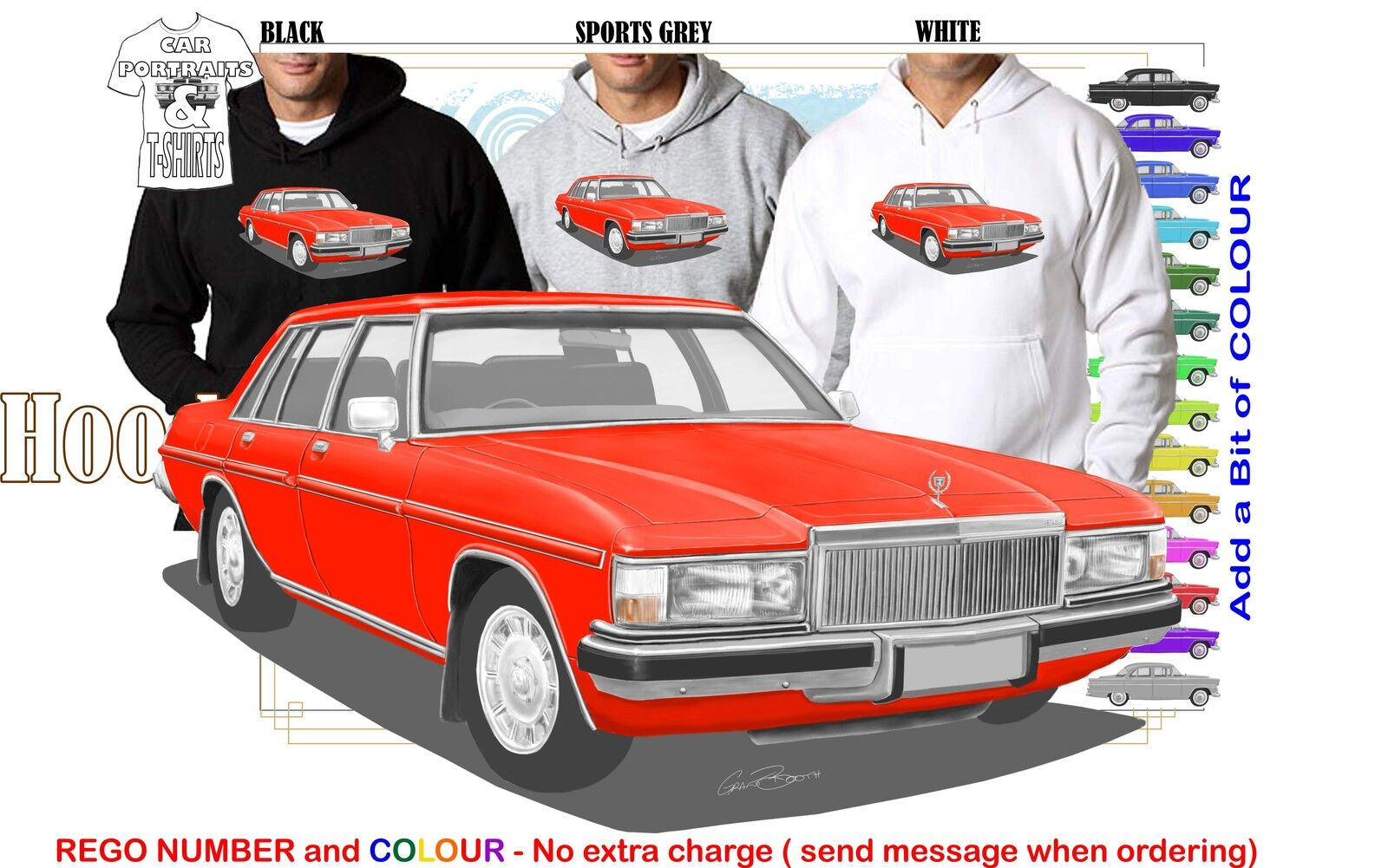 80-84 WB HOLDEN STATESMAN HOODIE ILLUSTRATED CLASSIC RETRO MUSCLE SPORTS CAR