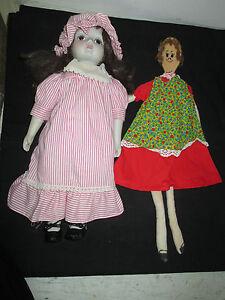 Vintage-Lot-of-2-Dolls-16-034-Porcelain-18-034-Handmade-Spoon-Doll