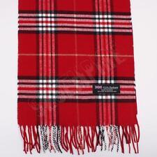 Women 100% CASHMERE Scarf Red tartan Plaid Design Soft MADE IN SCOTLAND