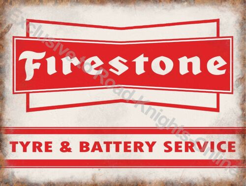 Small Metal Tin Sign Vintage Garage Firestone Tyre /& Battery Service Motor Car