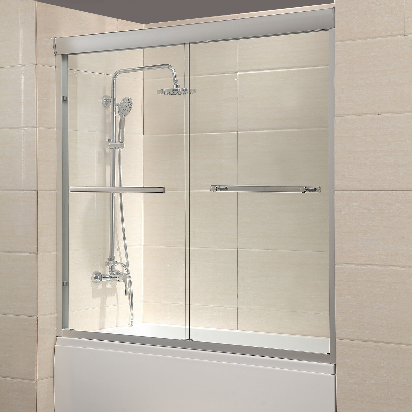 60 Quot Framed 1 4 Quot Clear Glass 2 Sliding Bath Shower Door
