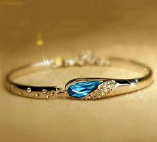#3033 Fashion New Crystal Women Bracelet Blue Color Silver Plated Charm Bracelet