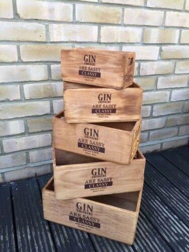 VINTAGE-en bois-Box-Gin Drinkers-Boîtes-JARDINIERE-DECOR piece