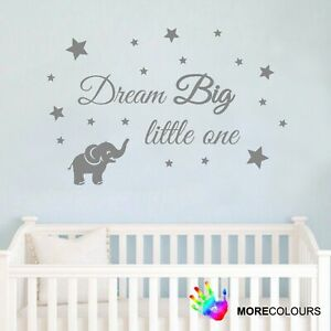 Details About Wall Art Sticker Baby Dream Little One Elephant Stars Decal Nursery Vinyl
