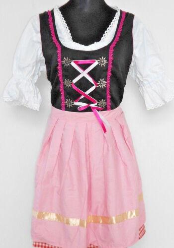 Womens Authentic German Red Pink Check Dirndl Oktoberfest Dress Ladies Costume