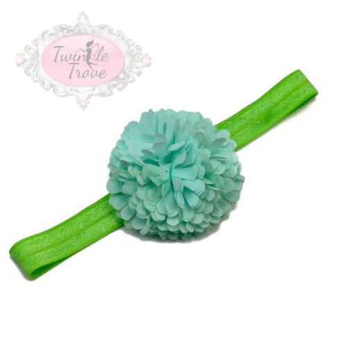 Baby Toddler Pompom Flower Hairbands Kids Girls Hair Band Elastic Headband.