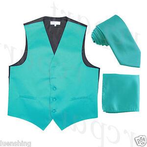 New Men's Teal formal vest Tuxedo Waistcoat_necktie & hankie set wedding