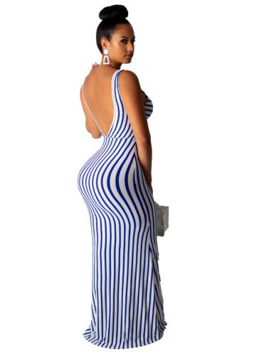 NEW Fashion Women Sleeveless V Neck Stripes Print Tie-Front Bodycon Dress Party
