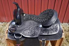 "15"" BLACK TOOLED LEATHER WESTERN HORSE COWBOY SHOW PLEASURE TRAIL SADDLE TACK"