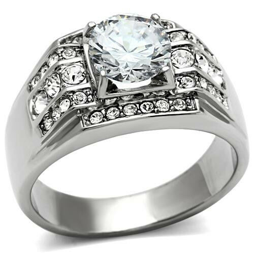 8MM Clear CZ Ring Main Stone 316 Stainless Steel Mens Solitaire Cubic Zirconia