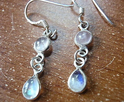 Moonstone and Lapis 925 Sterling Silver Dangle Earrings Corona Sun Jewelry