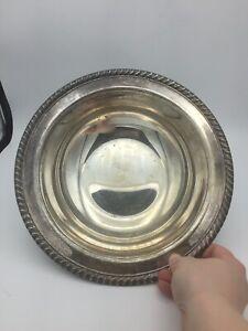 "Vintage WM ROGERS 862 Silver Plate Rope Edge 10 1/2"" Serving Bowl"