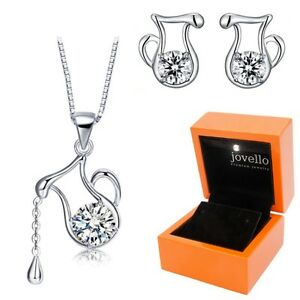 Schmuckset-aus-925-Silber-Sternzeichen-Wassermann-Halskette-Ohrstecker-LED-Box