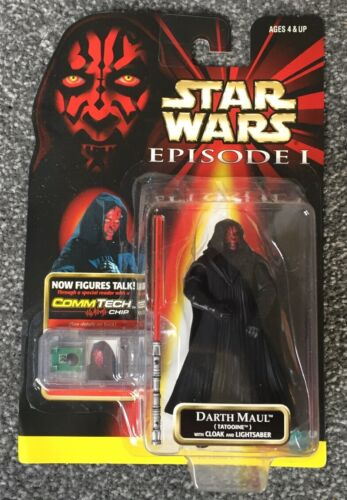 """Comm Tech Chip 1999 Hasbro Star Wars Episode 1 """"Darth Maul"""" With Lightsaber"""