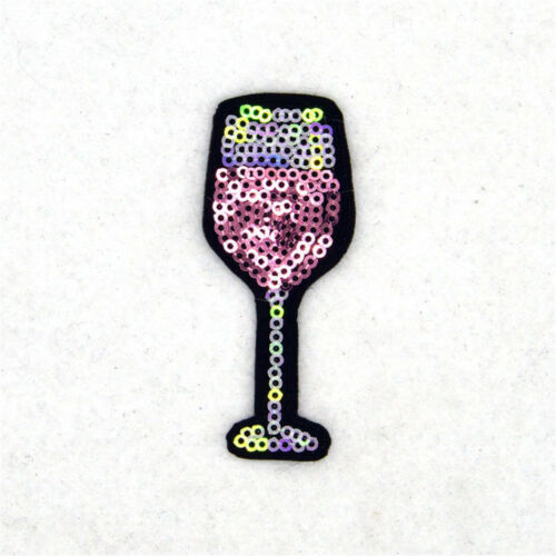 Wine Glass Cup Shaped Pink Sequins Embroidery Sew Iron On Patches Badge Applique