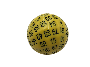 SkullSplitter Single 100 Sided Polyhedral Dice 45mm   Solid Yellow Color D100