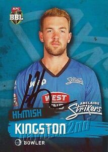 Signed-2015-2016-ADELAIDE-STRIKERS-Cricket-Card-HAMISH-KINGSTON-Big-Bash