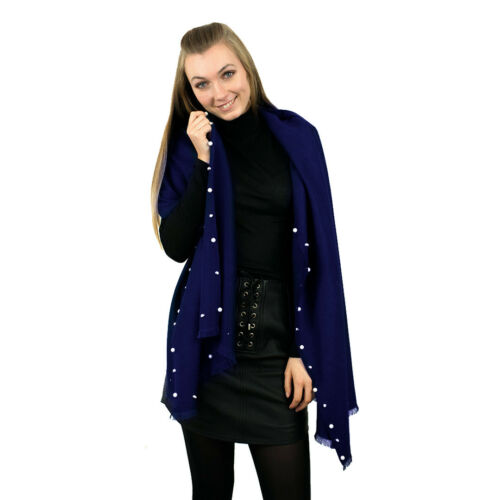 Ladies Designer Pearl Warm Scarf Wrap Tassel Soft Scarves Shawl High Quality