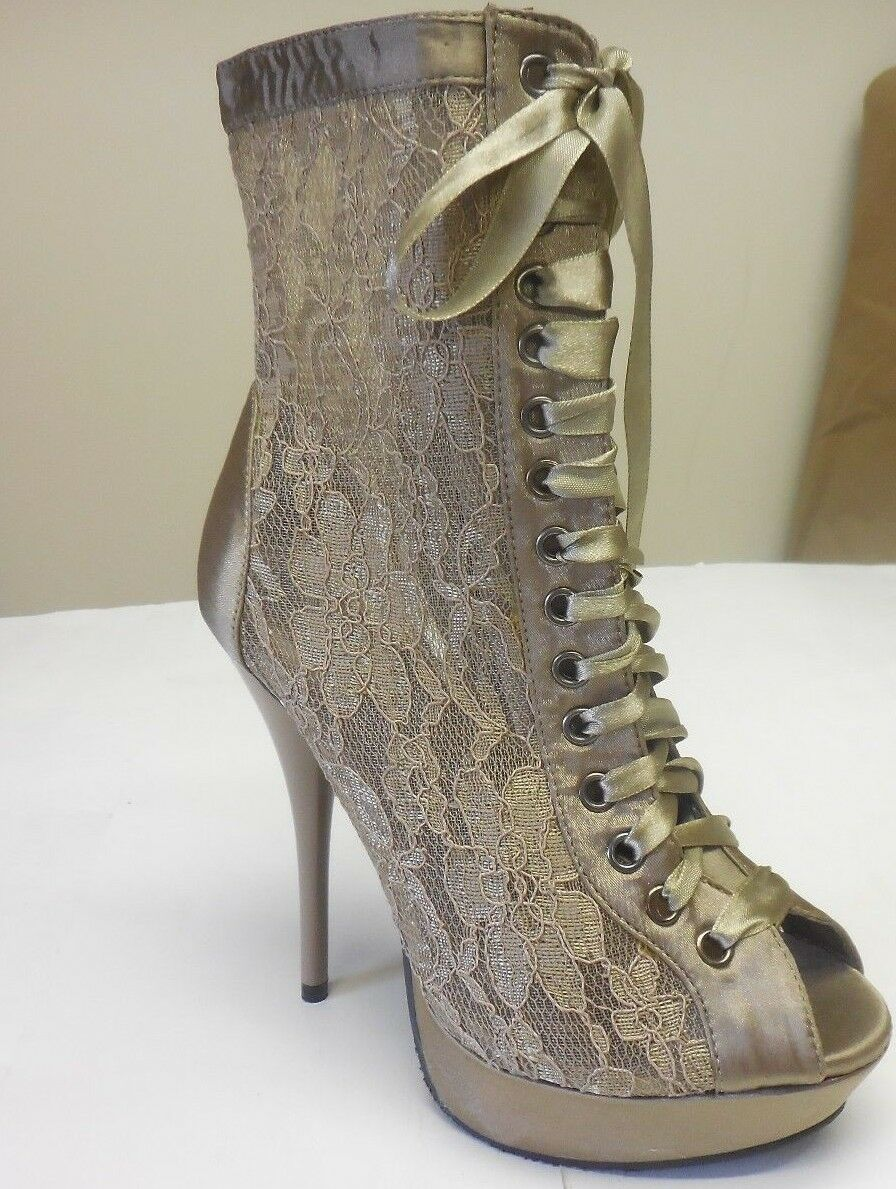 De Blossom Women's Mandy-36 Brown Lace Net See Through Peep Toe Heels Size 6.5