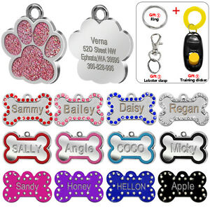 Bone-Paw-Personalised-Dog-Tags-Laser-Engraved-Cat-Kitten-Name-Tag-Glitter-ID
