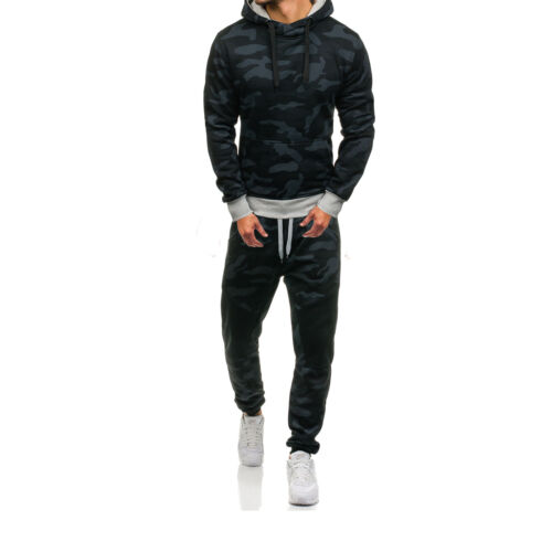 Men Tracksuit 2 Piece Casual Pants Hoodie Sweatsuit Sweatshirt Camouflage Set