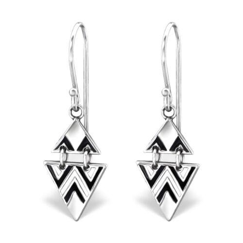 925 Sterling Silver Black /& White Patterned Geometric Drop//Dangle Earrings