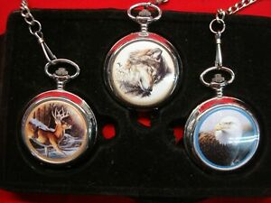 POCKET-WATCH-GROUP-OF-3-DEER-WOLF-BALD-EAGLE-ESTATE-BUY-WITH-CHAINS