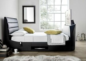"""Avalon Black Leather King Size TV bed Frame.Holds Up To A 43"""" TV"""
