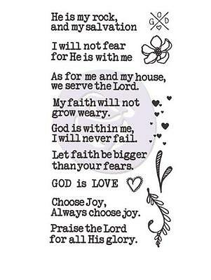 """Prima Marketing Jamie Dougherty Creating In Faith Cling Stamp Set 3""""X5.5"""" 980702"""