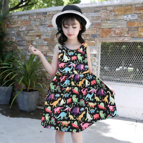 Summer Toddler Baby Kids Girls Sleeveless Cartoon Dinosaur Dress Dresses Clothes