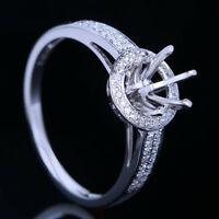Solid 14k White Gold 6-6.5mm Round Cut Natural Diamonds Semi Mount Setting Ring