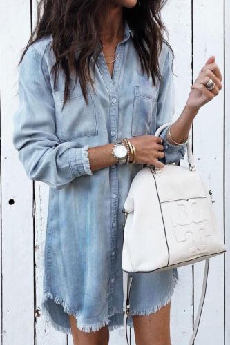 Women Long Sleeve Loose Denim Shirts Dress Summer Casual Female Jeans