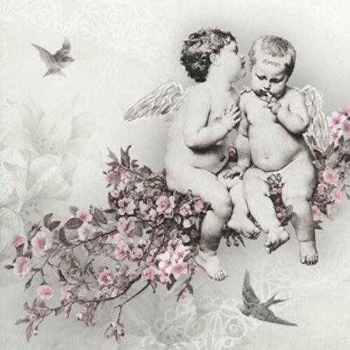 "Paper Cocktail Napkins 2x20 pcs 10/""x10/"" Angelic Chic Cupids Angels Birds Rose"