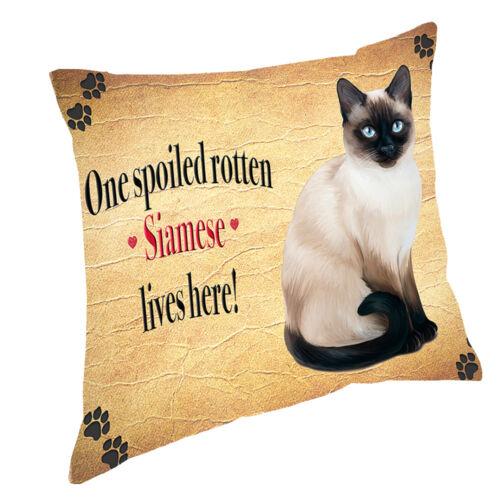 Siamese Spoiled Rotten Cat Throw Pillow 14x14