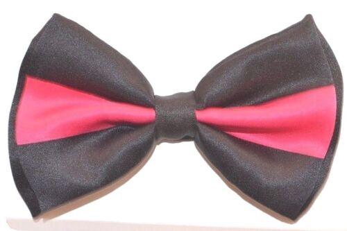 New Tuxedo PreTied Black Pink Two Tone Bow Tie Satin Adjustable Bowtie