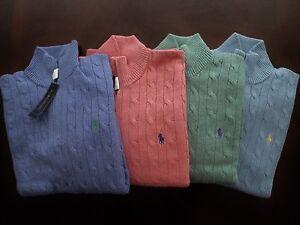 NWT-Ralph-Lauren-Men-039-s-Tussah-Silk-Cabled-Half-Zip-Pullover-Sweater-XL-NEW-125
