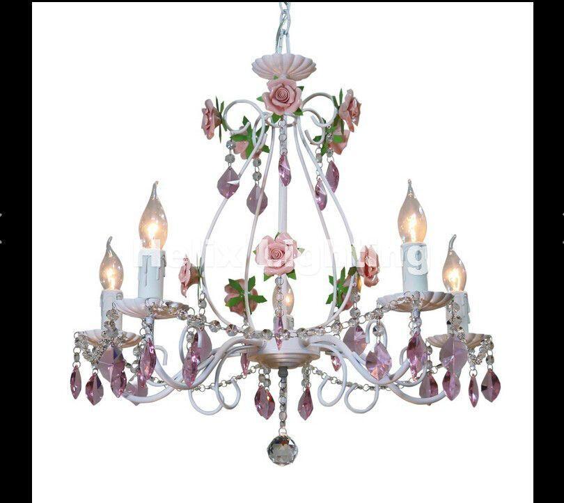 European Chandelier Flower Light Fixture Elegant Semiflush Mounted Crystal Decor