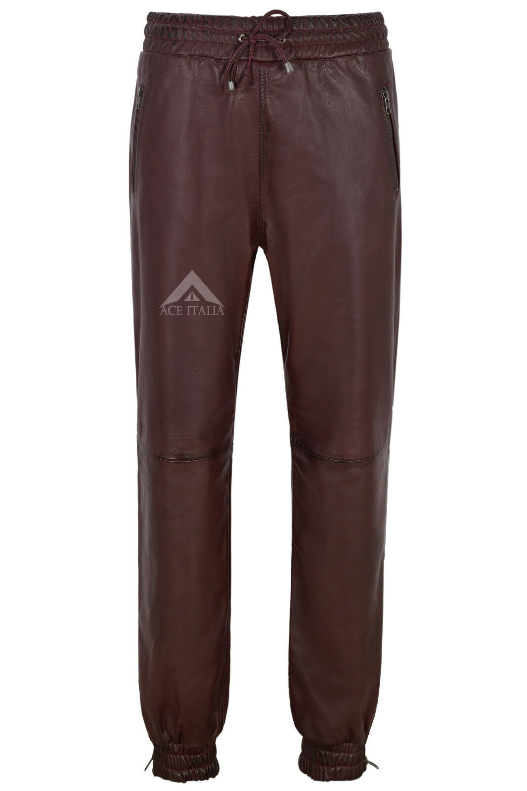 Men's Real Leather Trousers Cherry Napa Sweat Track Pant Zip Jogging Bottom 3040