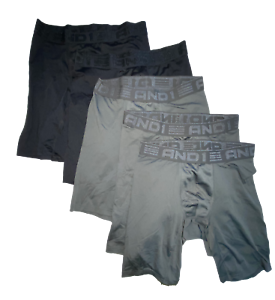 Men And1 Performance Long Leg Boxer Brief - Black & Grey - 5 Pack - Size S - NEW