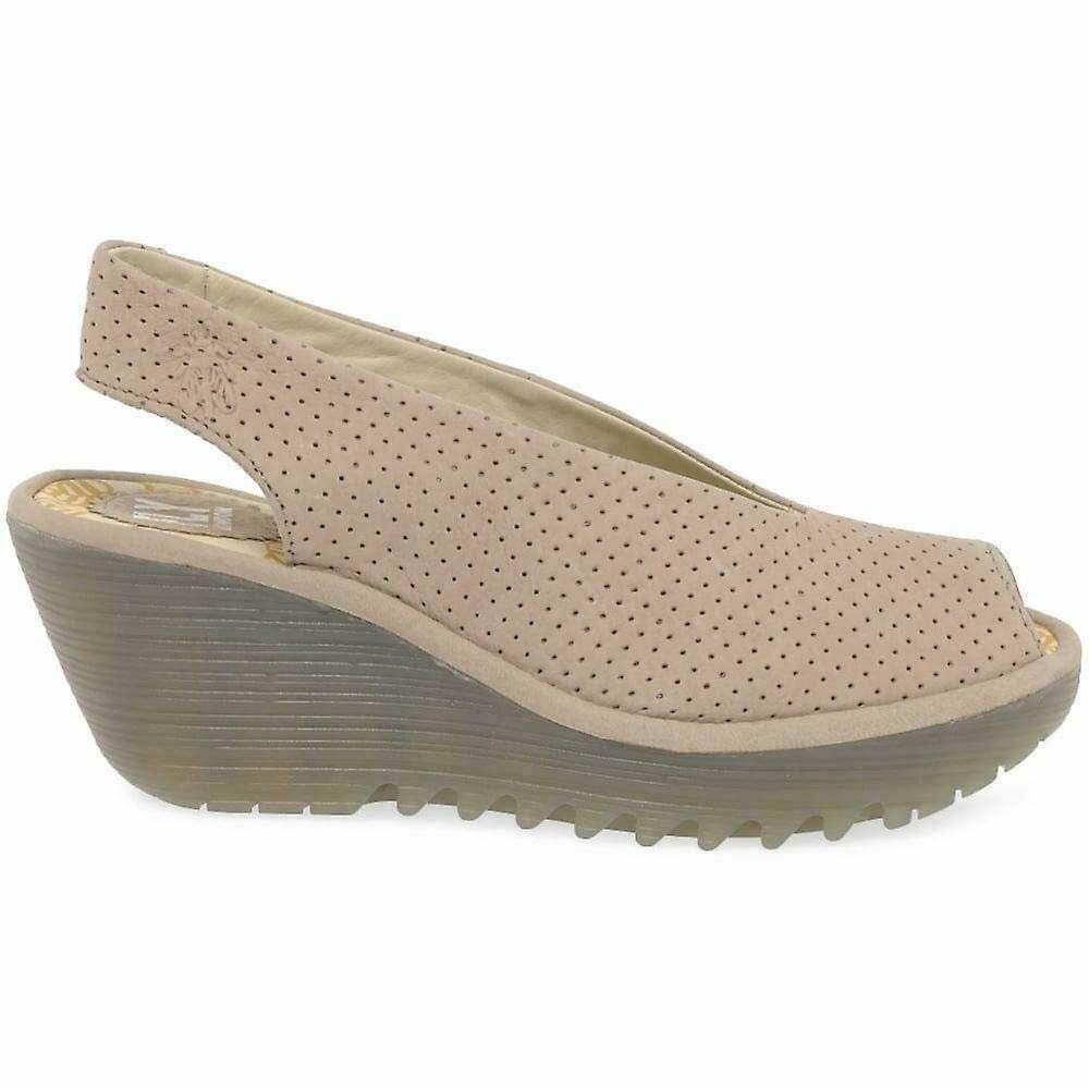 Damen Fly London Yazu736 Peeptoe Riemen Leder Keil Schuhe Sandalen
