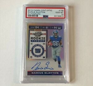 2019 Contenders Optic Holo Rookie Ticket Darius Slayton RC AUTO PSA 10 GIANTS