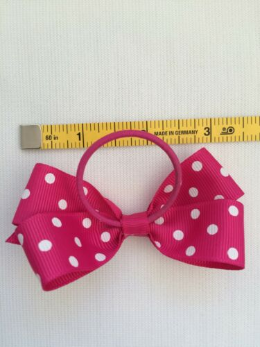 GROSGRAIN RIBBON BOUTIQUE POLKA DOT BOW WITH ELASTIC HAIR BAND GIRL//LADY//BABY