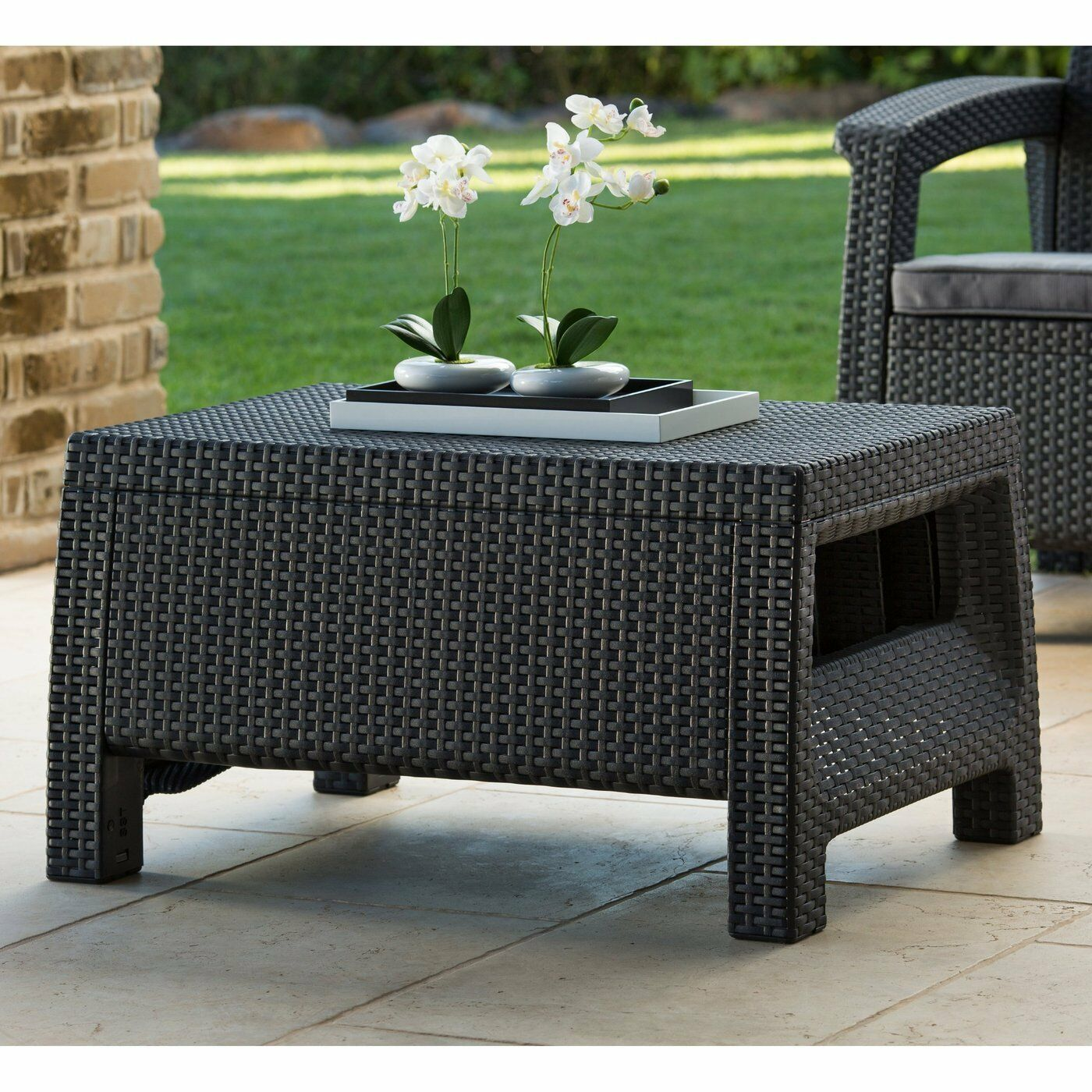 Wicker Coffee Table Outdoor Patio Rattan Side End Deck Porch Yard Furniture Grey Ebay