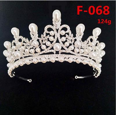 New Fashion Wedding Pearl Bridal Crowns Handmade Tiara Bride Headband Crystal OQ