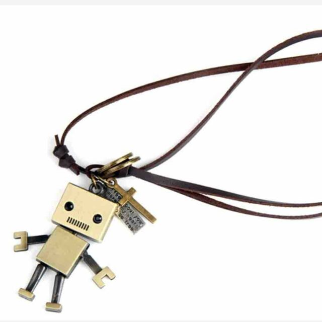 Fashion Vintage bronze square robot leather rope necklace pendant Gift