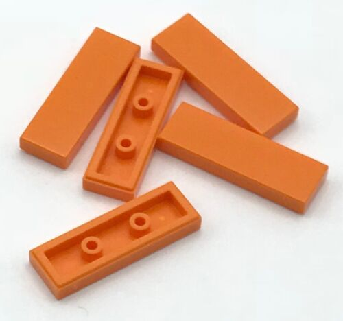 Lego 5 New Orange Tiles 1 x 3 Flat Smooth Pieces
