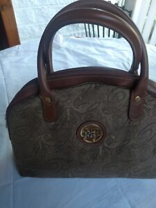 Nina Leather tas Logo Brocade Brown Ricci getrimde Vintage fyYbgvI67