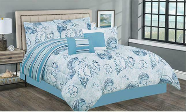 Blau & Weiß Seashells & Sand Dollars Nautical Beach King Comforter Set- 7 Piece