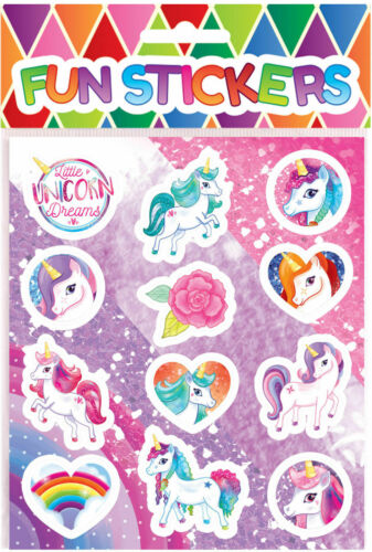 6 Pack/'s of 12 Unicorn Children/'s Party Bag Activity Stickers Fillers Toys