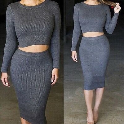 Womens 2 Piece long sleeve thicken Bodycon Crop Tops Skirt Sweater Dress outfit